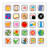 Colored Icon Set 2 - Version2. 25 different colored icons in a square shaped buttons Royalty Free Stock Photo