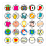 Colored Icon Set 3 - Version1. 25 different colored icons in a circle shaped buttons Stock Photography