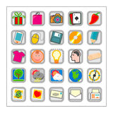Colored Icon Set 3 - Version2. 25 different colored icons in a square shaped buttons Royalty Free Stock Photography