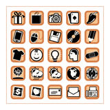 Colored Icon Set 3 - Version5. 25 different black & white icons in an orange square shaped buttons Stock Image