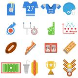 Colored icons collection for American football Royalty Free Stock Photo