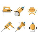 Colored icons collection of construction equipment Stock Photo