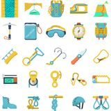 Colored icons collection for rock climbing. Set of flat colored icons for equipment and outfit for rock climbing, alpinism, mountaineering on white background Stock Photo