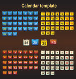 Colored icons with the days. Of the month Stock Images
