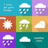 Colored icons design of weather forecast Royalty Free Stock Image