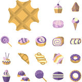 Colored icons for desserts Royalty Free Stock Photo