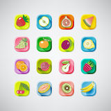 16 colored  icons of fruits with shadow.tasty. illustration. Set of colored  icons of fruits with shadow Stock Image