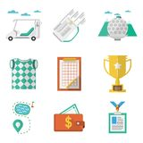 Colored icons for golf Stock Images