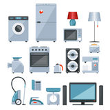 Colored icons of home appliances. Colored icons of different types of home appliances on white background Royalty Free Stock Photo
