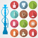 Colored icons for hookah and accessories Royalty Free Stock Image