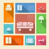Colored icons for hotel with place for text Stock Photos