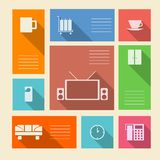 Colored icons for hotel with place for text Royalty Free Stock Photo