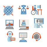 Colored icons for internet education vector illustration