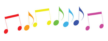 Colored icons of musical notes. Raster Royalty Free Stock Image