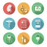 Colored icons for nephrology Royalty Free Stock Photo