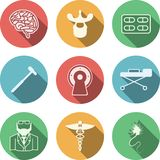 Colored icons for neurology. Set of colored circle icons with white silhouette symbols for neurology on white background stock illustration