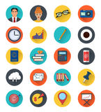 Colored icons of office elements set. Twenty modern icons in flat style. Cute vector illustrations Royalty Free Stock Photography