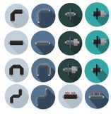 Colored icons of pipes in polyurethane foam insulation for websites, posters banners stock photography