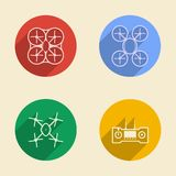 Colored icons for quadrocopter Stock Photos