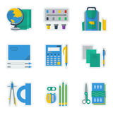 Colored icons for school items Stock Photo
