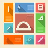Colored icons for school supplies with place for text Royalty Free Stock Photos