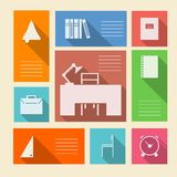 Colored icons for school supplies with place for text Royalty Free Stock Image