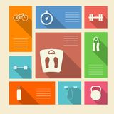 Colored icons for sport with place for text. Square colored icons with white silhouette symbols for sport and place for your text Royalty Free Stock Photo
