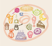 Colored icons sweets. Stock Photos