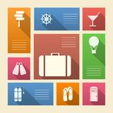 Colored icons for vacation with place for text Stock Photo