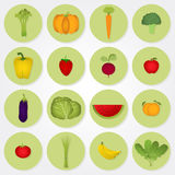 Colored icons of vegetables and fruits. Stock Image