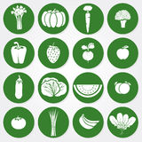 Colored icons of vegetables and fruits Royalty Free Stock Photography