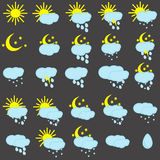 Colored icons for weather forecasting Stock Image