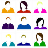 Colored icons women. Raster. Stock Images