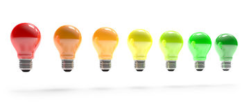 Colored ight bulbs in row Stock Photo