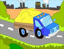 Colored illustration background of a dump truck. Hand drawn colored illustration background of a dump truck with city background for kids Royalty Free Stock Images