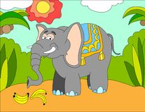 Colored illustration background of an elephant. Hand drawn colored illustration background of a big elephant for kids Royalty Free Stock Photography