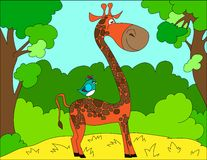 Colored illustration background of a giraffe Stock Image
