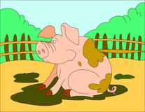 Colored illustration background of a pig. Hand drawn colored illustration background of a pig for kids Royalty Free Stock Images