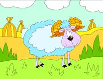 Colored illustration background of a woolly sheep. Hand drawn colored illustration background of a woolly sheep with turfs background for kids Royalty Free Stock Photography