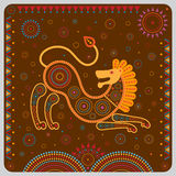 Colored illustration featuring a stylized lion in the tribal style. Royalty Free Stock Image