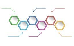 Colored illustration infographic. Illustration infographic, web design, clean hexagon infographic Royalty Free Illustration