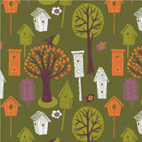 Colored illustration of trees and birdhouses Stock Photos
