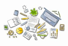 Drawn image of work table with objects. Colored illustration of workplace with different office staff Royalty Free Stock Photo