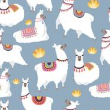 Colored illustrations for textile pattern with illustration of llamas vector illustration