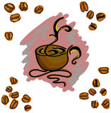 Colored image with coffee cup. Vector illustration Stock Images