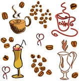 Colored image with coffee drinks. Vector Royalty Free Stock Image