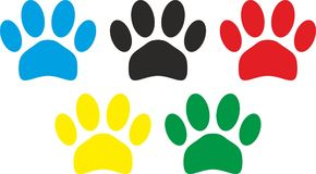 Colored Imprints of the Dog paws. Five Colored Imprints of the Dog paws Royalty Free Stock Photo
