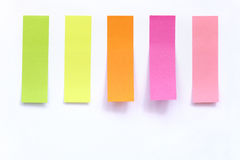 Colored index paper stick on white Royalty Free Stock Photography