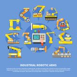 Industrial Robotic Arms Composition. Colored industrial robotic arms composition with different types of arms and robots vector illustration Stock Images