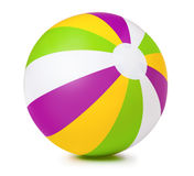 Colored inflatable beach ball. On white background royalty free stock image
